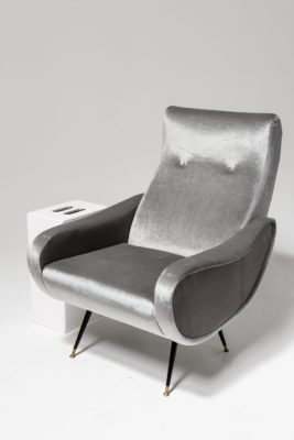 Alternate view 1 of Trevi Grey Velvet Armchair