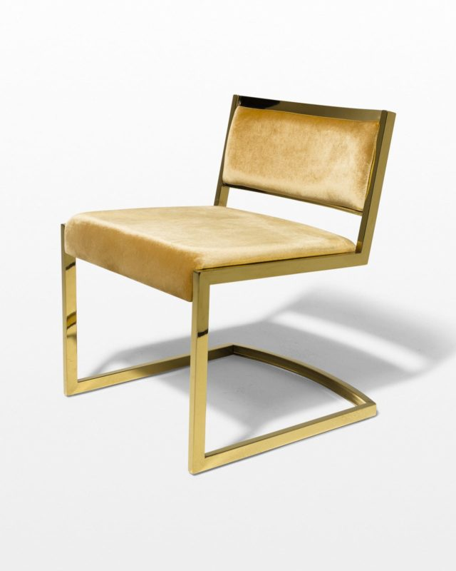 Front view of Robert Gold and Velvet Chair