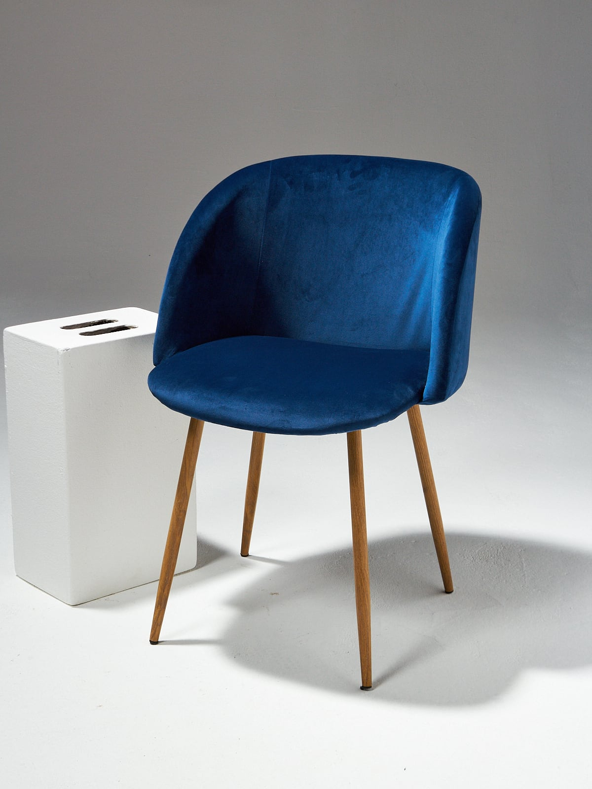 Ch498 Satellite Blue Velvet Chair Prop Rental Acme Brooklyn