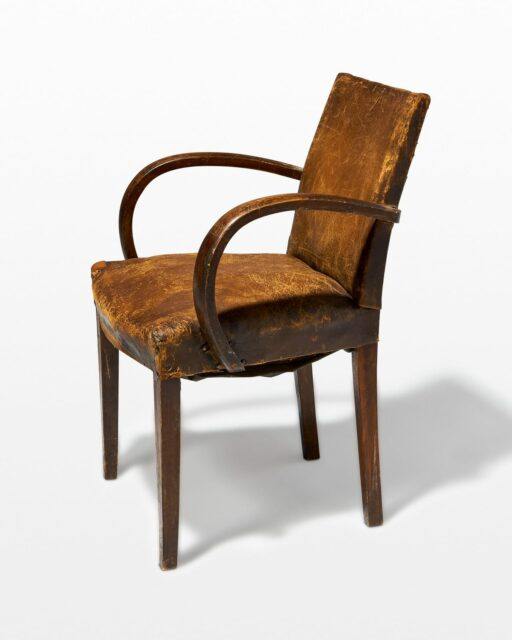 Front view of Irvine Distressed Brown Leather Chair