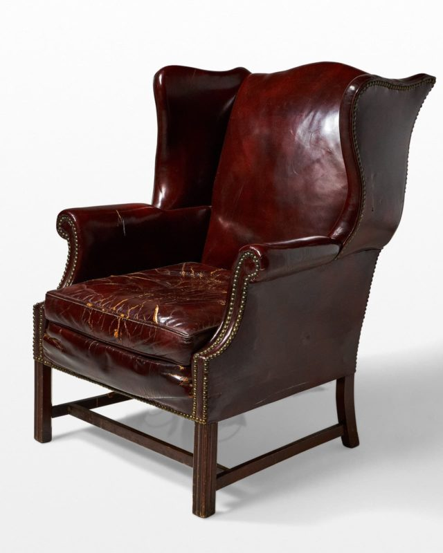 Front view of Harold Distressed Leather Wingback Chair