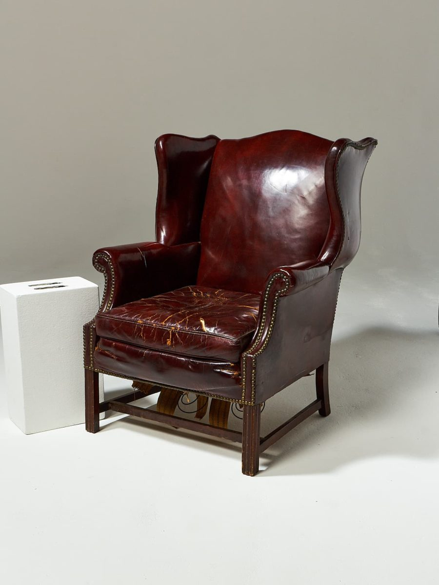 Alternate view 1 of Harold Distressed Leather Wingback Chair