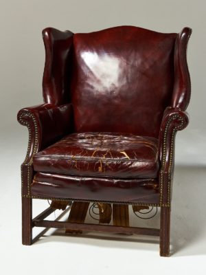 Alternate view 2 of Harold Distressed Leather Wingback Chair