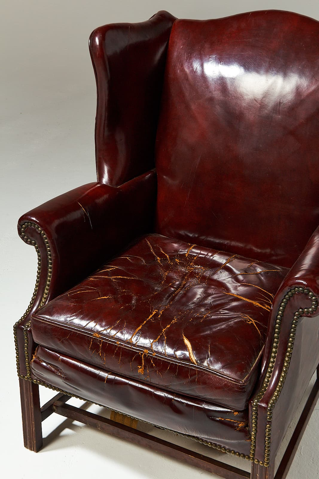 ch520 harold distressed leather wingback chair add select rate 175 - Leather Wingback Chair