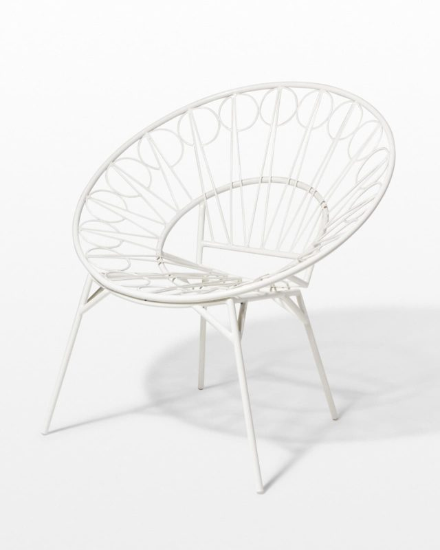 Front view of Lori White Ring Chair