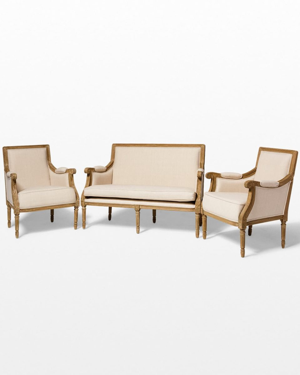 Front view of Marielle Beige Cotton Love Seat and Chair Set