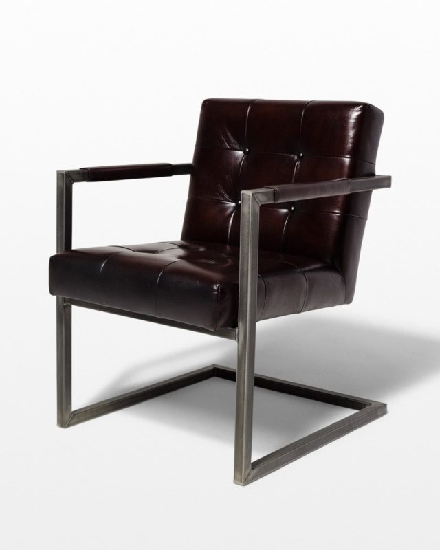 Front view of Molasses Leather Cantilever Chair