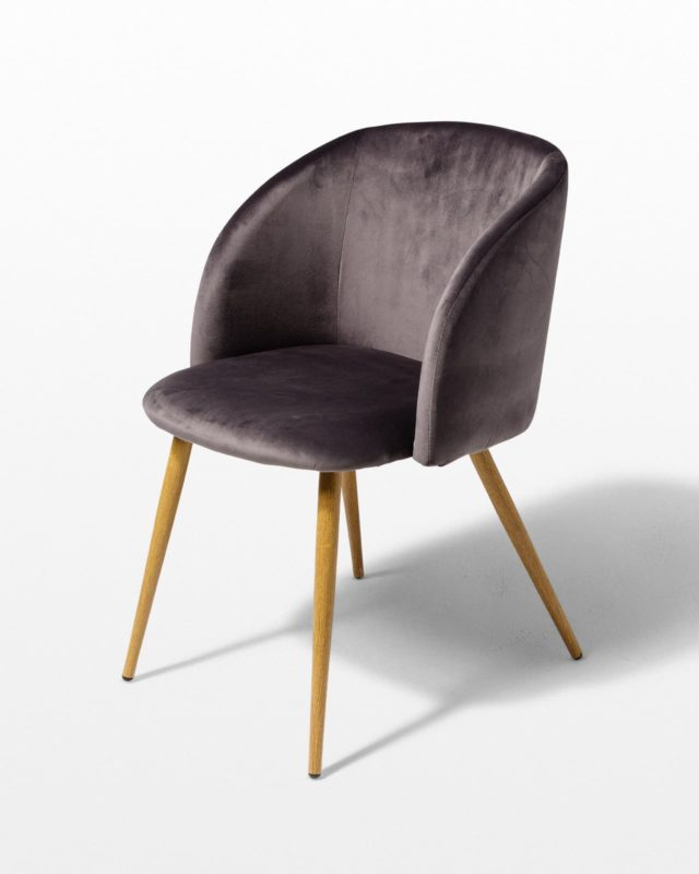 Front view of Mist Grey Velvet Chair
