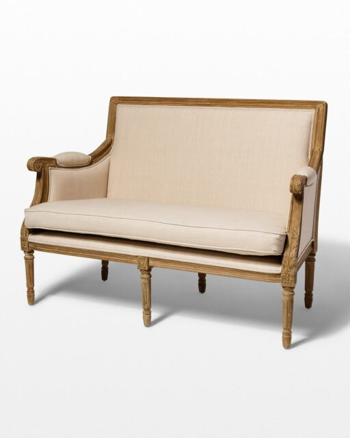 Front view of Marielle Beige Cotton Love Seat