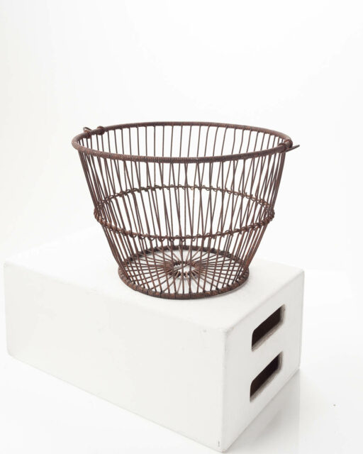 Front view of Rusted Wire Basket