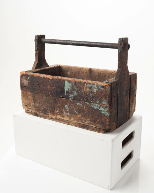 Front view of Antique Wooden Toolbox