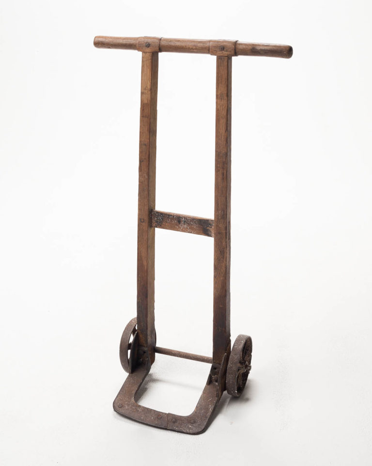 Front view of Antique Wooden Hand Truck Dolly