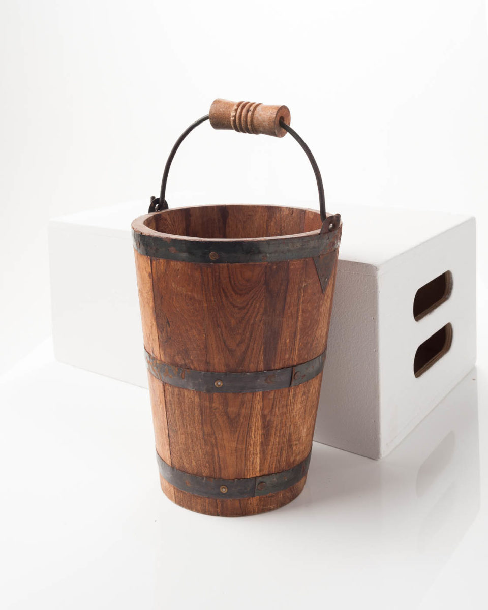 Front view of Short Narrow Wood Bucket
