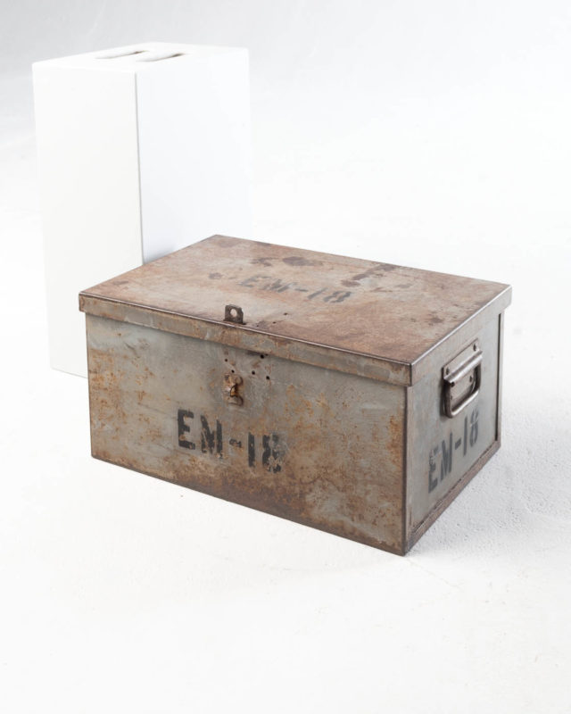 Front view of Small Barron Steel Shipping Trunk