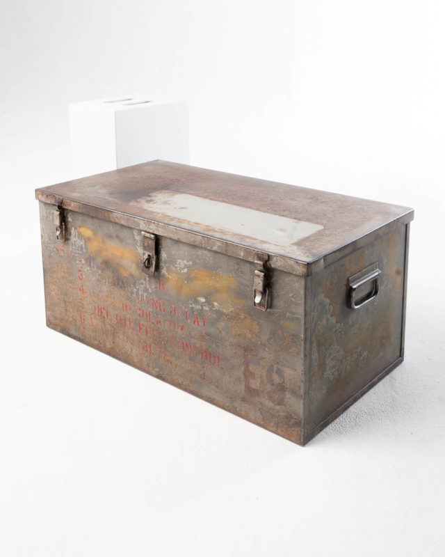 Front view of Medium Barron Steel Shipping Trunk