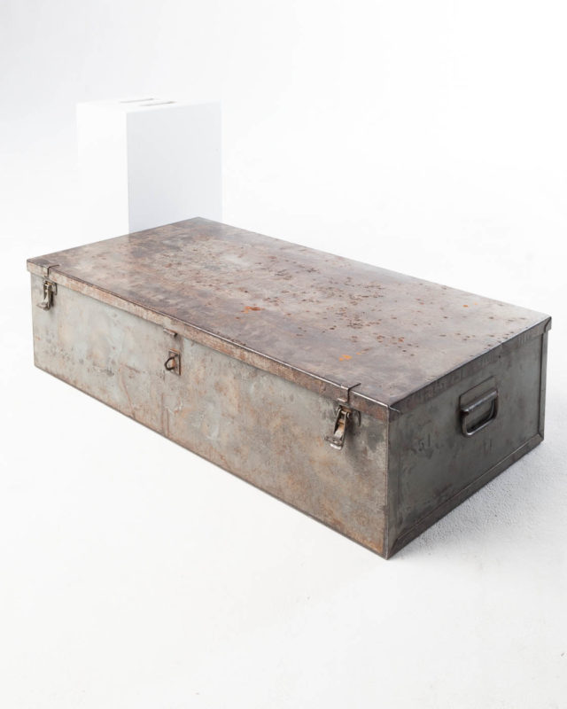 Front view of Large Barron Steel Shipping Trunk