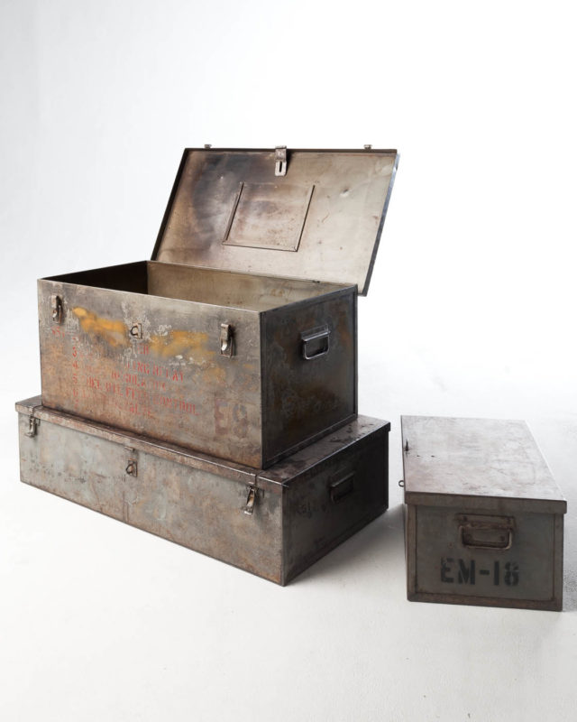 Front view of Barron Steel Shipping Trunks Set