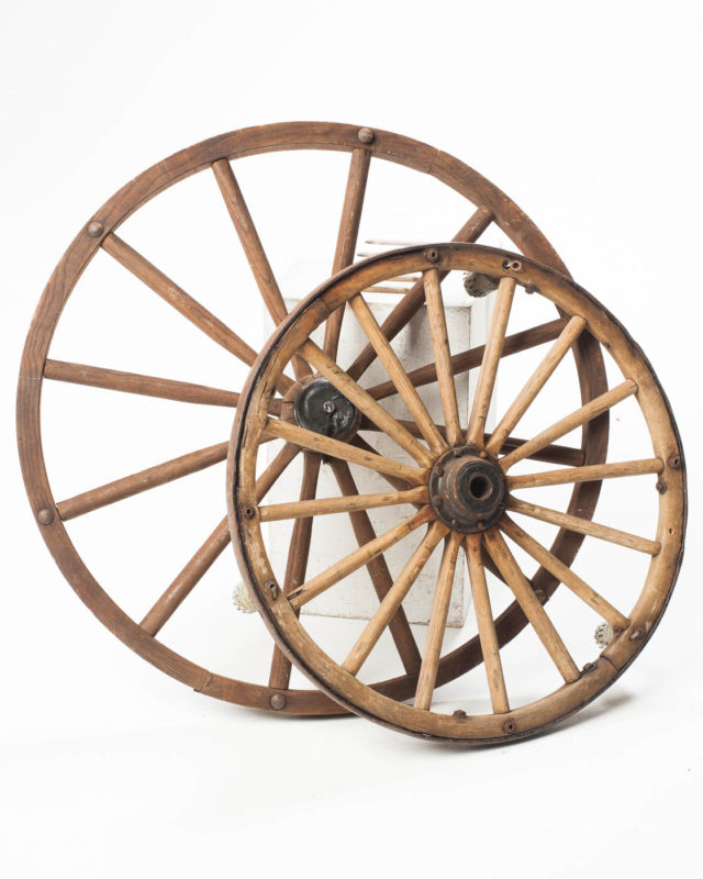 Front view of Wooden Wagon Wheel Set