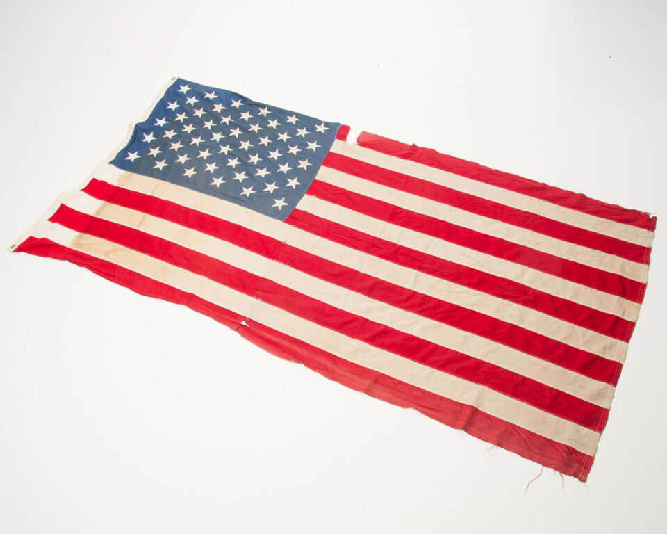 Front view of Distressed American Flag
