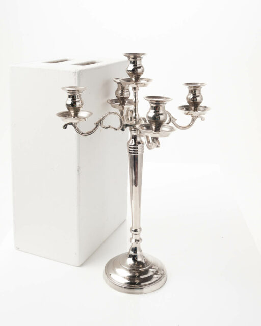 Front view of Five Candle Silver Plated Candelabra