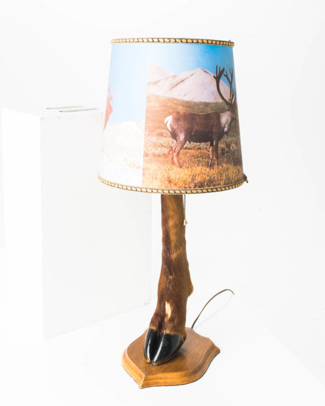 Front view of Deer Hoof Lamp with Shade