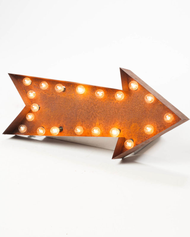 Front view of Lighted Distressed Metal Arrow