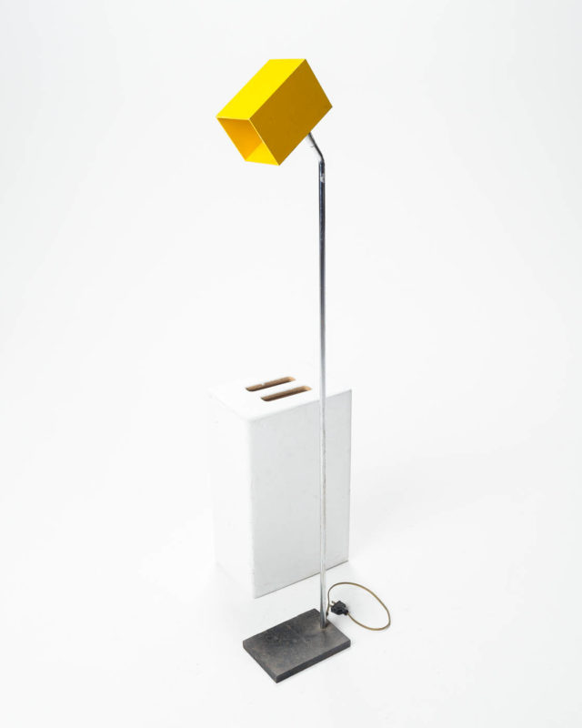 Front view of Yellow Cube Floor Light