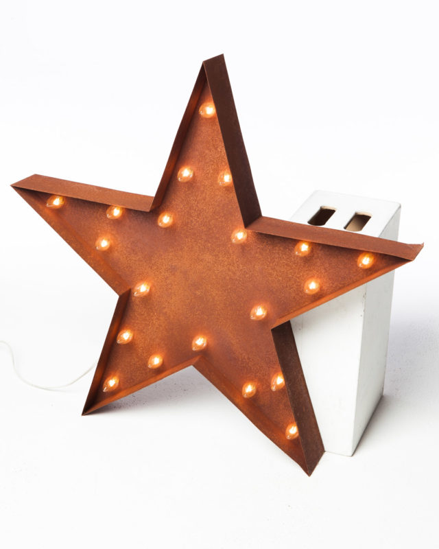 Front view of Large Lighted Metal Patina Star