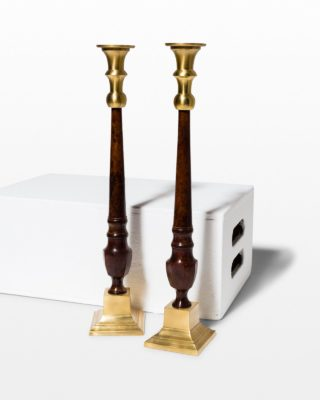 Front view of Plum Candlestick Pair
