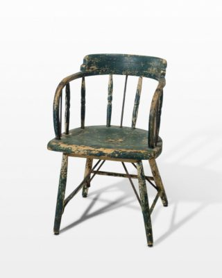 Front view of Weathered Green Wood Chair