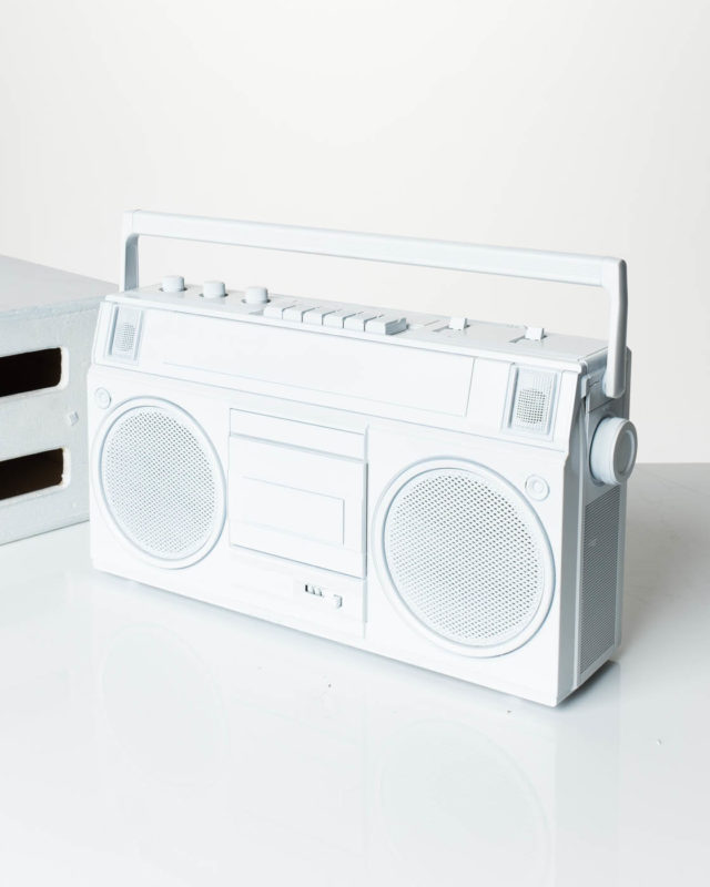 Front view of White Wash Boombox