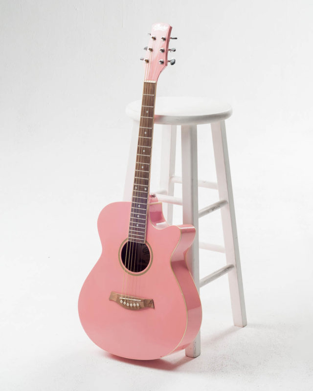 Front view of Swift Pink Acoustic Guitar