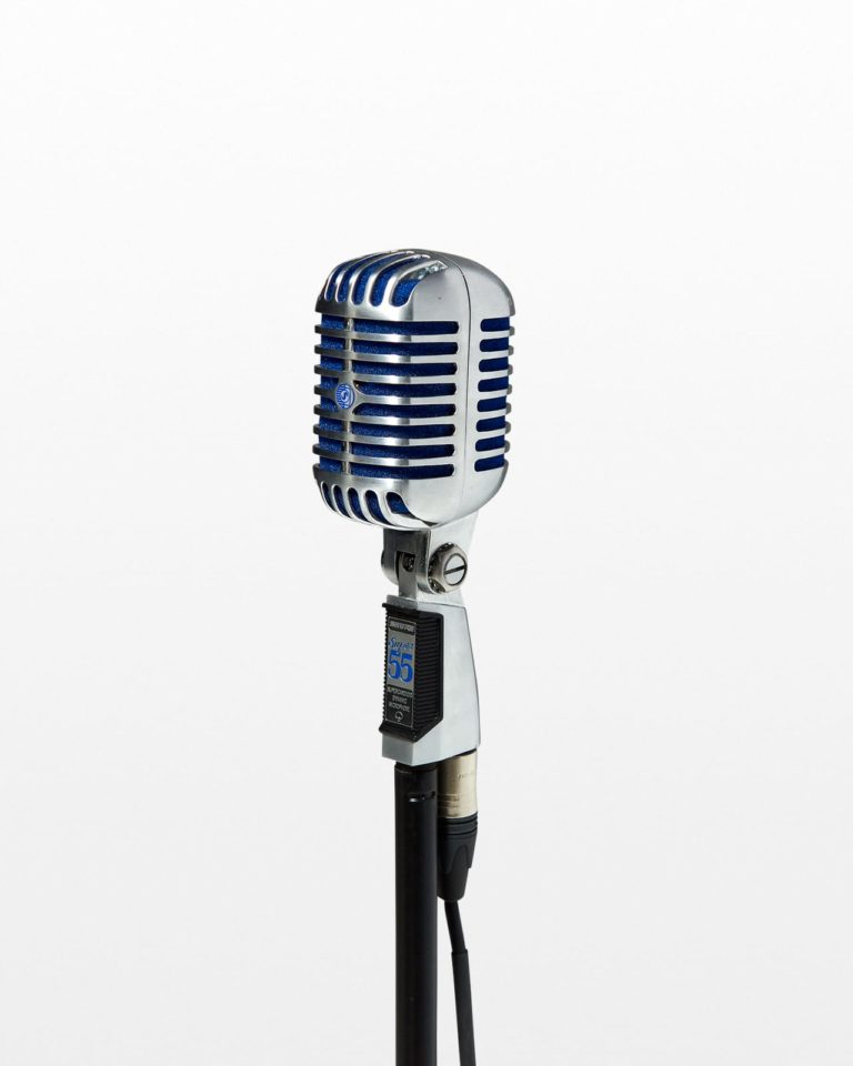 Front view of Bolt Silver and Blue Microphone with Cable and Stand