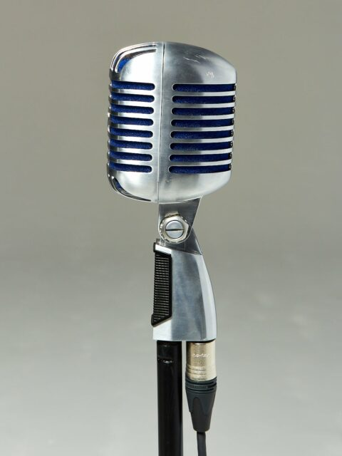 Alternate view 2 of Bolt Silver and Blue Microphone with Cable and Stand