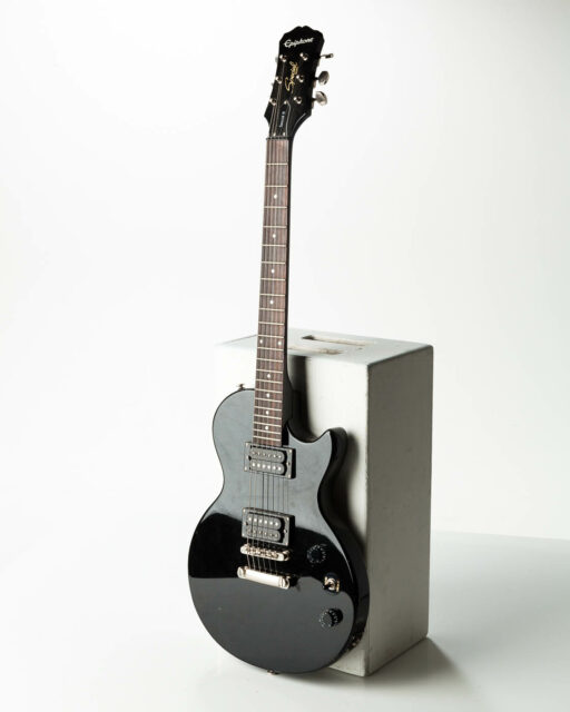 Front view of Ebony Electric Guitar
