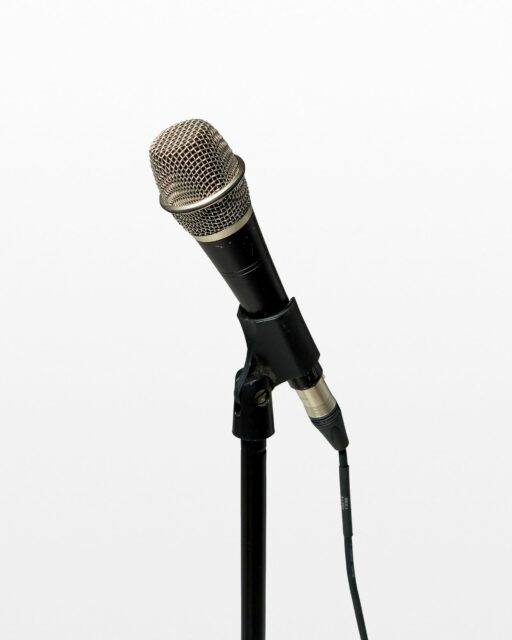 Front view of Eden Microphone with Cable and Stand