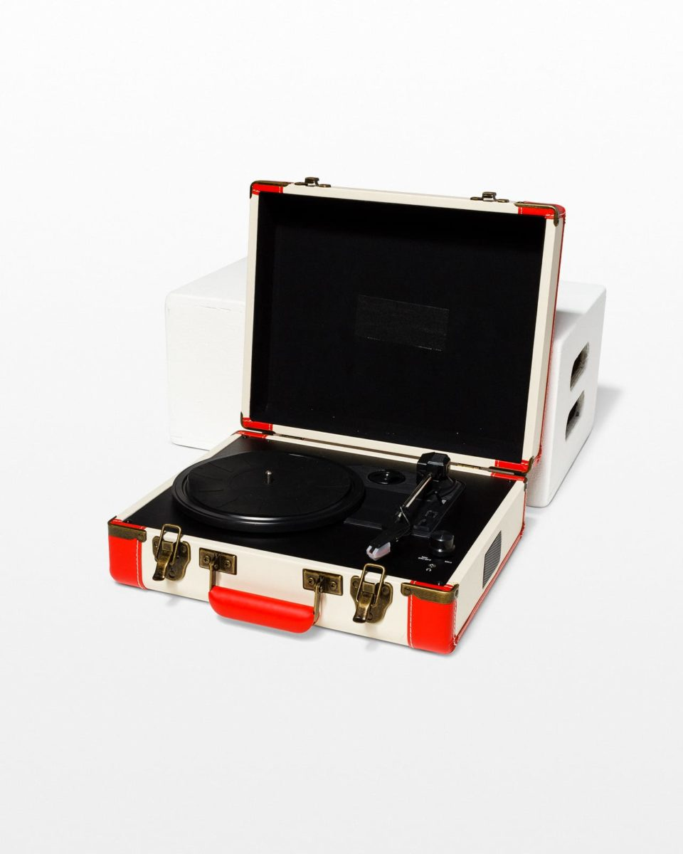 Front view of Suitcase Portable Record Player