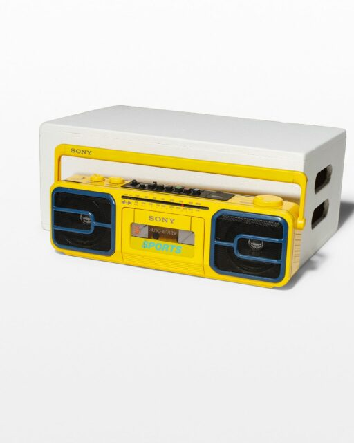 Front view of Nate Yellow Boombox Radio