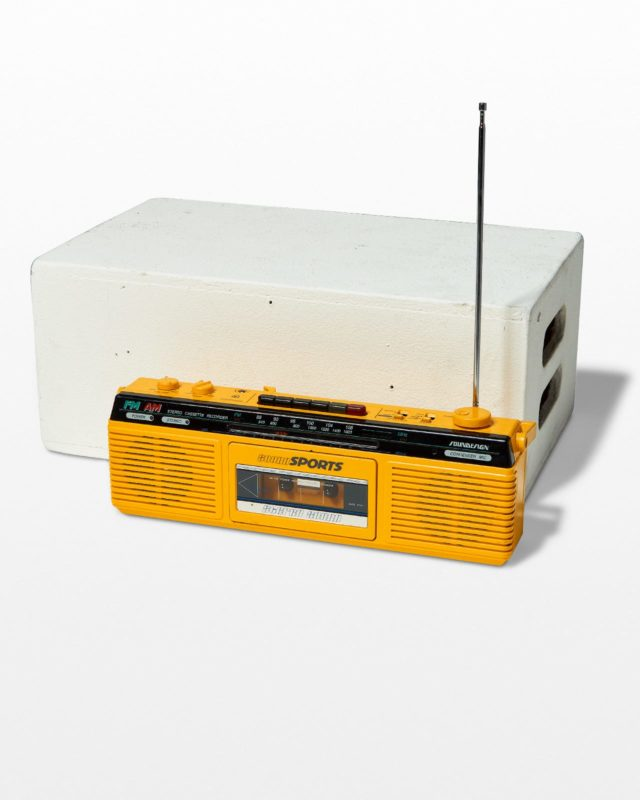 Front view of Kass Yellow Boombox
