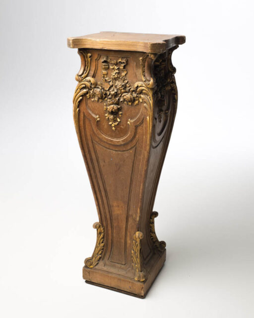 Front view of Rococo Carved Wood Pedestal