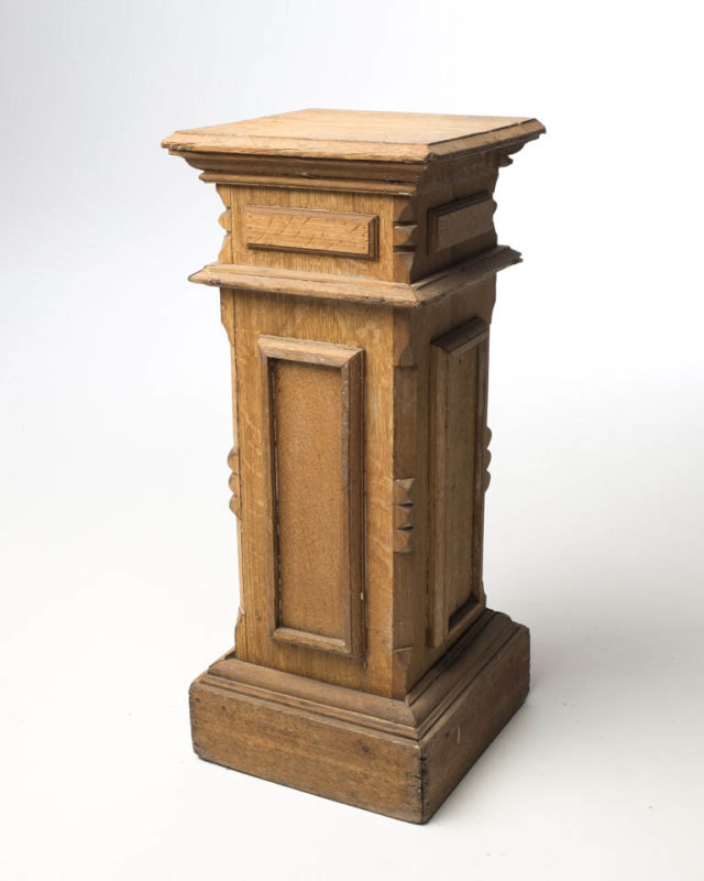 Front view of Carved Framed Wood Pedestal