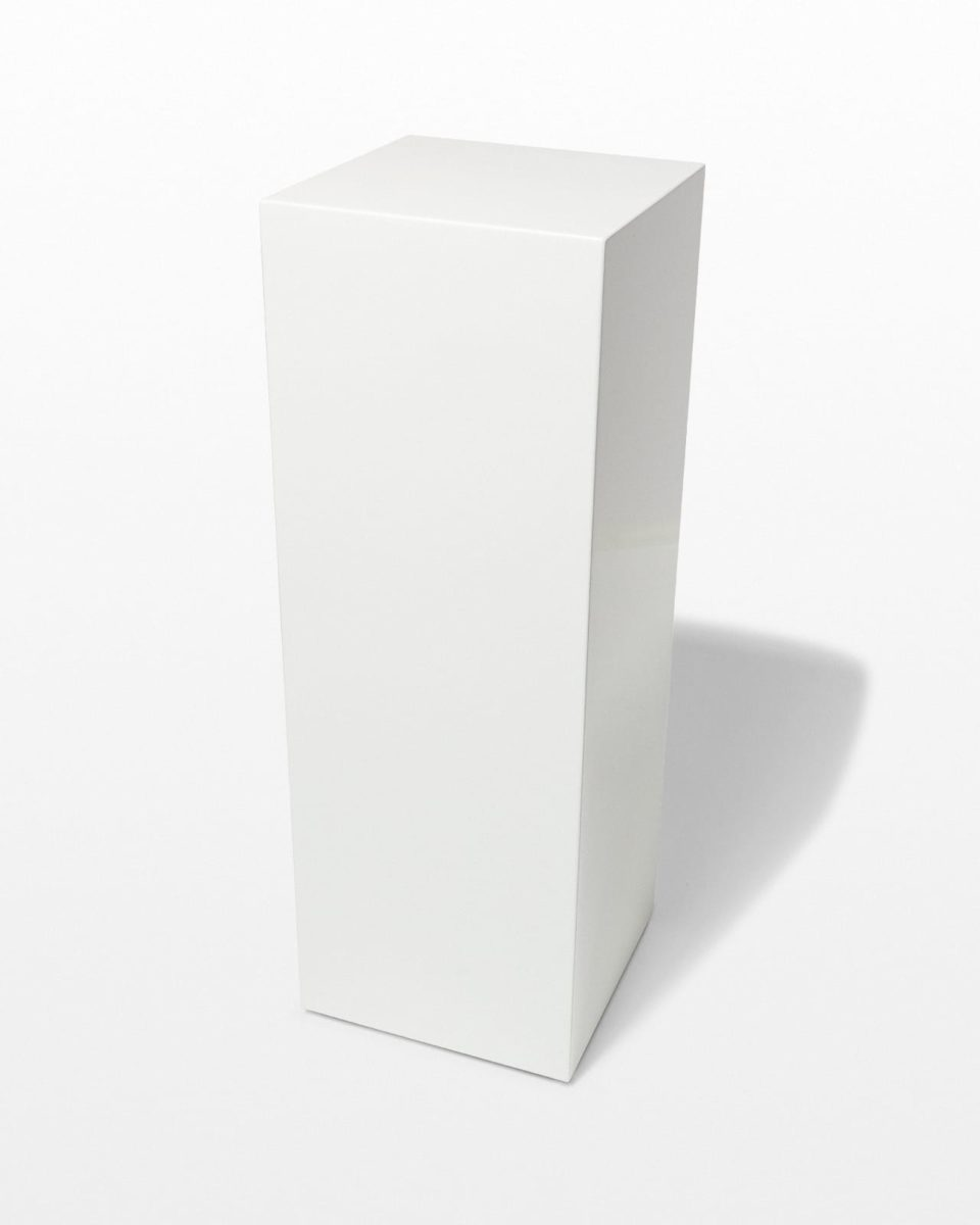Front view of Benny Tall White Lacquer Pedestal