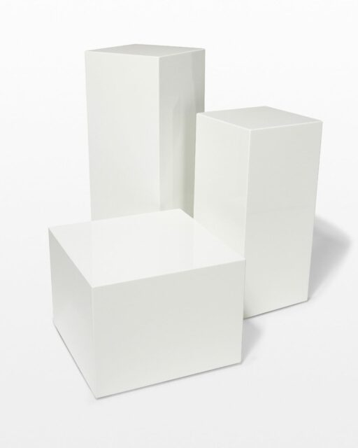 Front view of Benny White Lacquer Pedestal Set