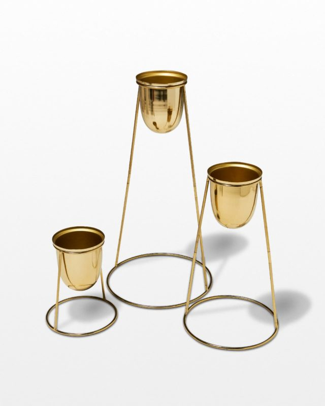 Front view of Cammy Gold Planter Set
