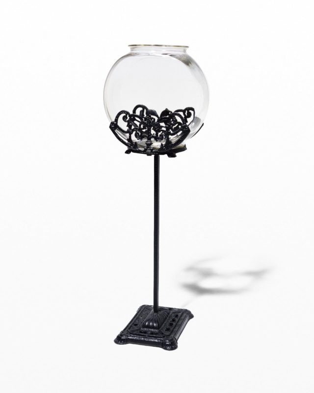 Front view of Goldie Antique Fishbowl Stand