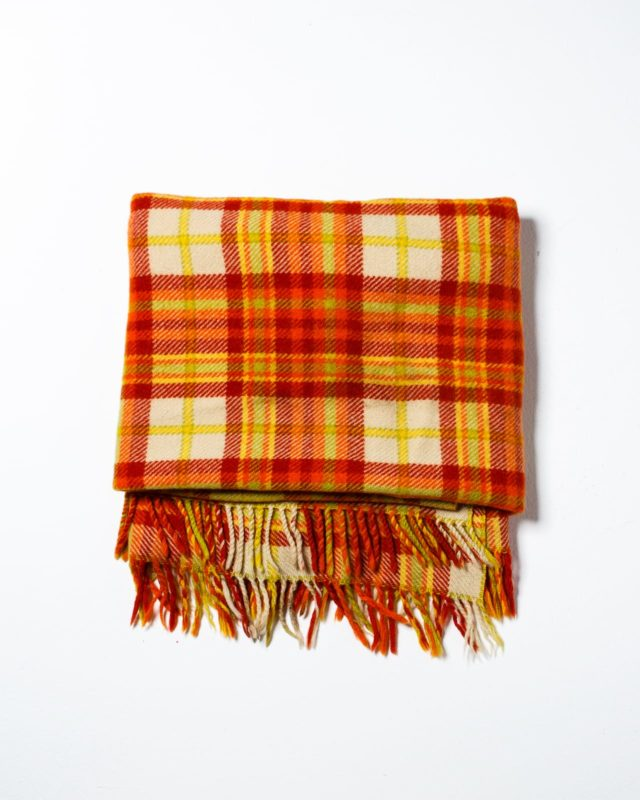 Front view of Orange Plaid Throw