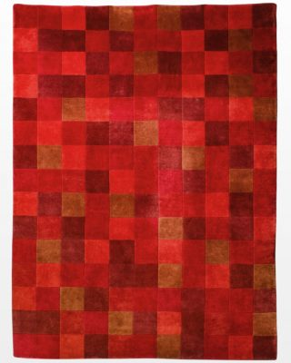 Front view of Red Block 8.75' x 12.5' Rug