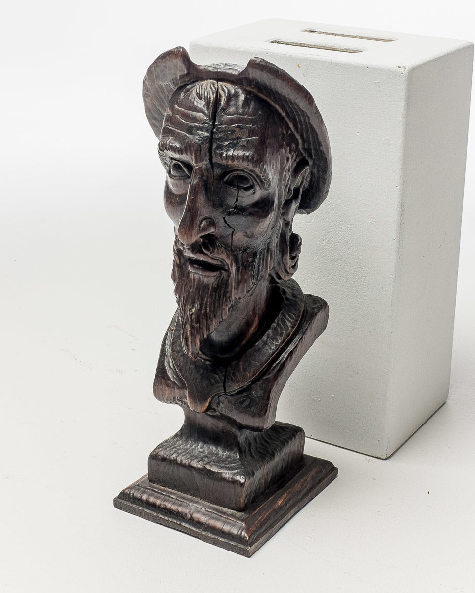 Front view of Black Long Face Bust