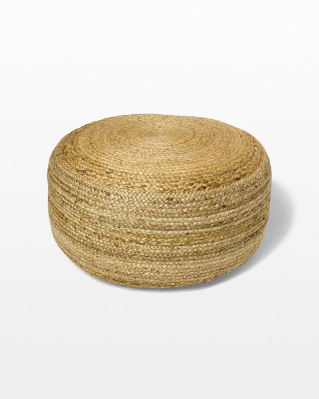 Front view of Large Beverly Braided Jute Pouf