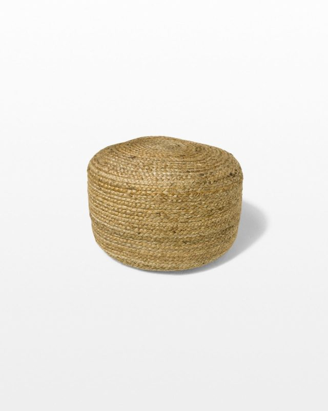 Front view of Small Beverly Braided Jute Pouf